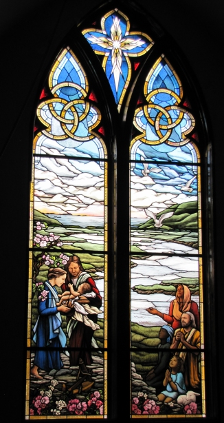 Deacon Archie Hanna Memorial, stained glass window by Debora Coombs for Trinity Episcopal, Branford CT